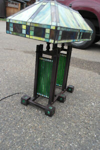 Antique mission style stained glass lamp