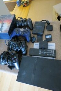 PS2, controllers, storage and games