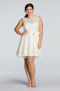 Betsy and Adam plus size (22w)  lace ivory dress