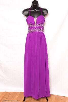 Prom Bridesmaid Pageant Formal Dress Gown Open Back Strapless Chiffon Bling 3 -