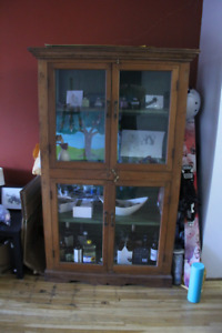 Solid Wood & Glass Antique Cabinet