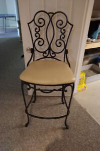 Two Wrought Iron Bar Height Stools