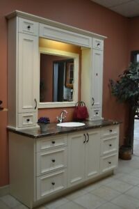 Vanity with upper cabinets and mirror