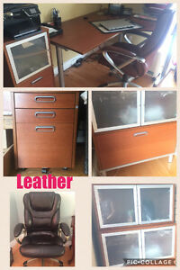 Corner executive desk with filing cabinets and office chair