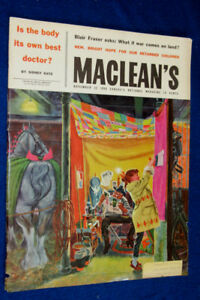 CANADIAN ROYAL WINTER FAIR ART ON 1958 MACLEANS MAGAZINE COVER