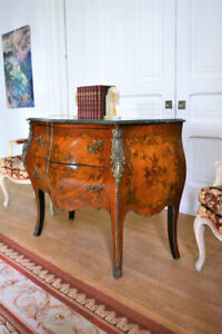 Large Antique Style French Bombé Commode Delivery Available