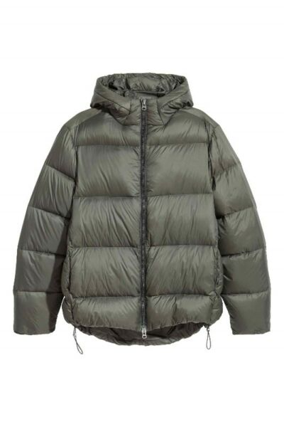 H&M Down Feather Padded Hooded JACKET KhakiGreen WINTER BRAND NEW!