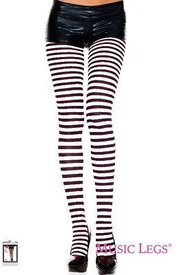 Tights Opaque Stripped Music Legs Black & White New Women Queen Fashion 7471Q
