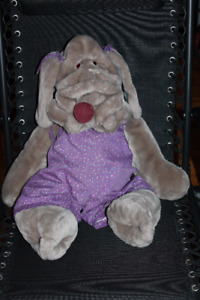 "Jumbo 28"" Wrinkles Plush Dog Puppet with Tags and Clothes 1980s"