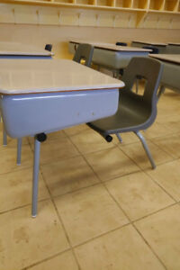 Vintage Metal Table with attached Chair