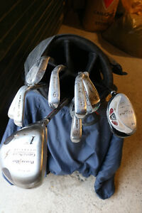 Leftie golf clubs and bag