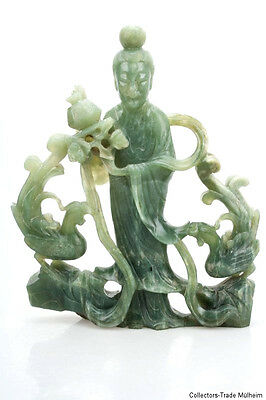 China 19. Jh. A Chinese Jade Carving of a Maiden Immortal - Giada Cinese Chinois