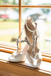 Beautiful white heels with bling