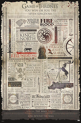 GAME OF THRONES INFOGRAPHIC 24X36 POSTER TV SHOW SERIES HBO FUN COOL AMAZING FUN