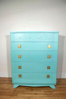 Tiffany Blue 5 Drawer Dresser