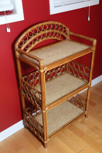 Beautiful Polynesian wicker/wood shelf.