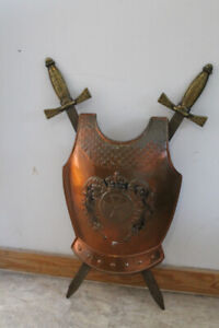 Vintage brass Knight chest armour wall mount.