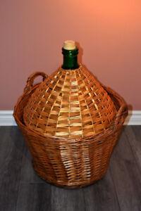 Huge 54 liter 14 gallons french wood wicker wine making demijohn