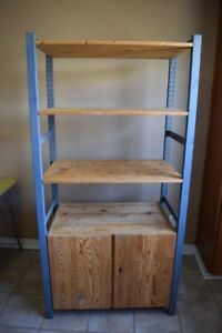 Wooden Shelving Unit with Bottom Cabinet