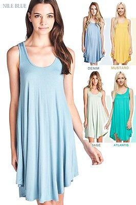 PLUS SIZE SOLID COLORS SUPER FLARED HIGH QUALITY TANK TUNIC MINI DRESS 1X 2X 3X](High Quality Dress)