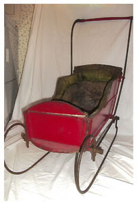 Antique Child's Sleigh with Tapestry Seats