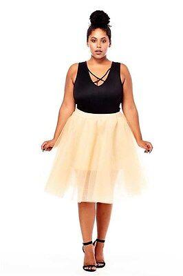 PLUS SIZE TuTu Tulle A-Line Pleated Long Tea Knee Length Skirt NUDE 1X 2X 3X