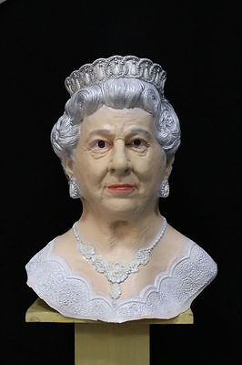Latex Masken Uk (Queen Elizabeth Of England Maske mit Kapuze Latex UK Königsfamilie Kostüm Masken)