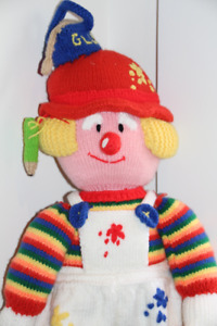Handmade Crochet Doll depicting a Clown/Painter