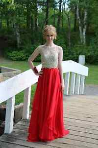 Red and Gold Prom Dress