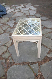 Outdoor Straw table with Glass Top. Very Neat and stable.