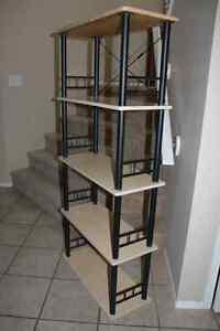 tall 5 shelf bookcase oak finish/black metal excellent condition
