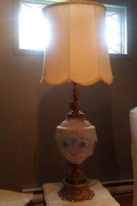 Lampe de salon, verre et bronze style provincial français
