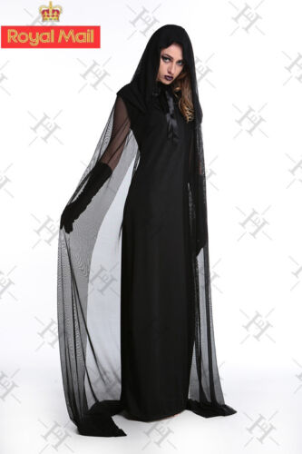 New Ladies Womens The Woman In Black Halloween Costume Fancy Party