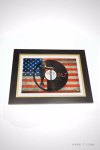 Limited Edition Black Vinyl 'MICHAEL JACKSON WITH USA FLAG`