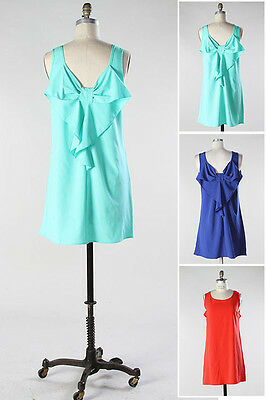 Pack Navy Mint Tea Party Plain Vacation Romance Date Ribbon Bow Back Dress S M - Ribbon Back Dress