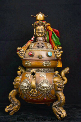 "24"" Old Tibet Buddhism Purple Bronze Buddha Head Dragon Incense Burner Censer"