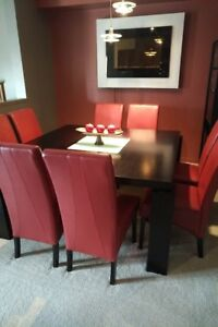 Square Dining Table and Red Chairs- seats 8!