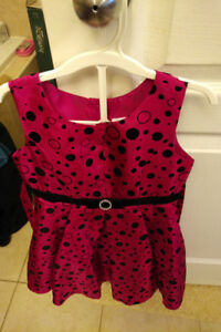 Like-new! 5T Pink dot special occasion satin-style dress