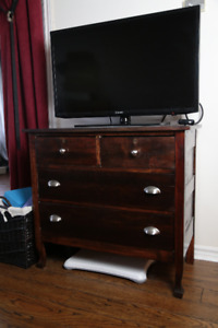 Vintage refinished hardwood dresser/ TV stand.
