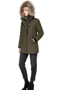 MACKAGE MARLA Down Coat With Fur Army Green Size XS Canada Goose