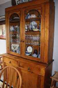 Antique Flat to the wall cupboard/china cabinet