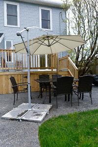 Patio umbrella and furniture