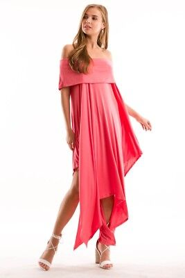 Off Shoulder Handkerchief Hem Dress with Pockets Peach Small (Dress With Handkerchief Hem)