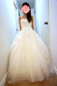 White by Vera Wang Strapless Tulle Wedding Dress VW351297 Ivory