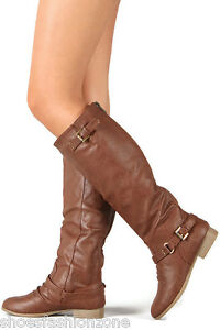 NEW Women's Zipper Military Flat Heel Buckle Riding Knee High Boots Shoes Size