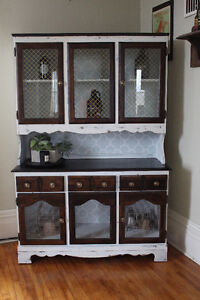 refinished wooden display cabinet