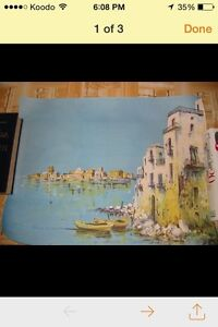 Villas by the Water - Signed Lithograph - Make me an offer!!