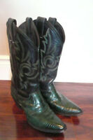 Cowboy Boot -- Ladies JUSTIN Green Iguana All Leather