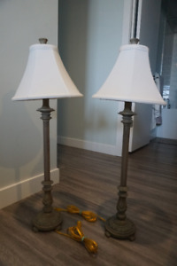 Two beautiful unique tall lamps