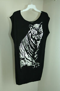 Long black shirt/dress with silver tiger. Size med or large